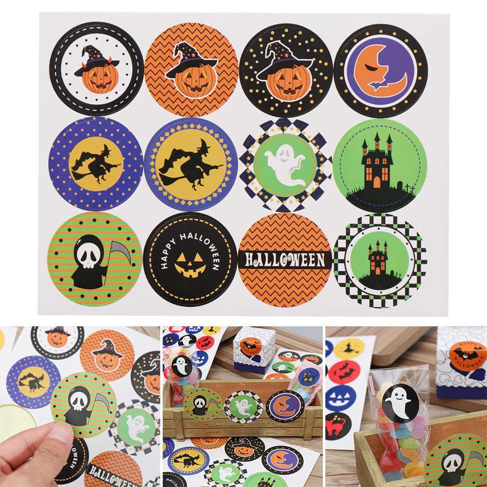 Nueva moda 60 piezas Halloween calabaza fantasma redondo hecho a mano pastel embalaje Etiqueta de sellado Kraft pegatina para hornear DIY regalo pegatinas