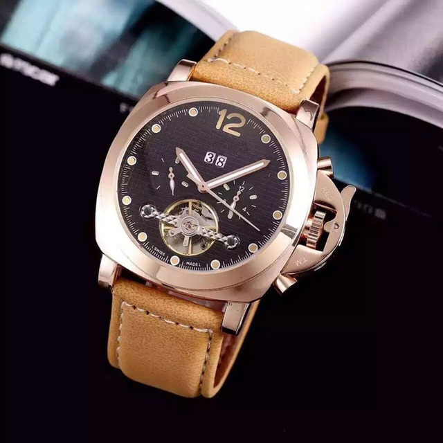 Fashion Swiss Watch Leather Tourbillon Watch Automatic Men Wristwatch Men Mechanical Steel Watches Relogio Masculino Clock | Fotoflaco.net