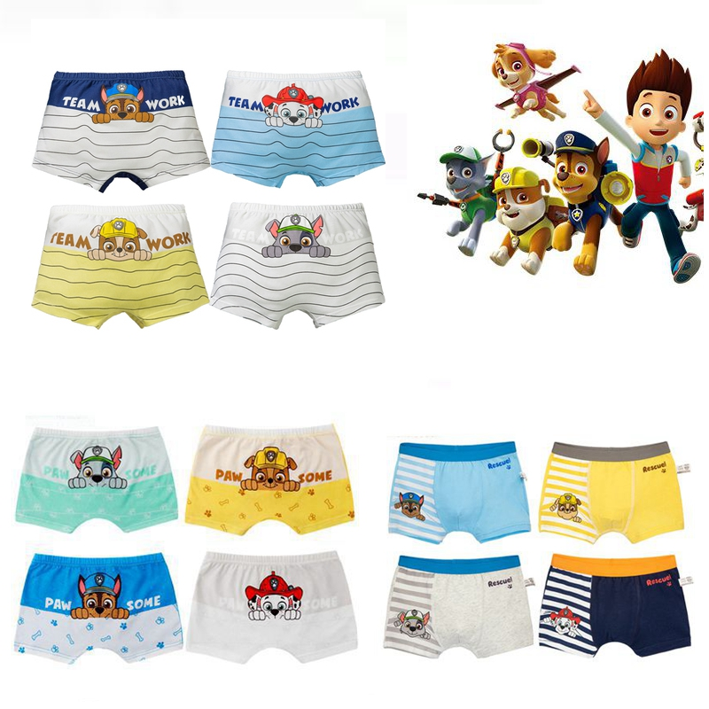 Genuine 4pcs/set Paw Patrol Toy Panties For Boys Action Figure Chase Rocky Marshall Cotton Boxer Briefs Kids Underpants