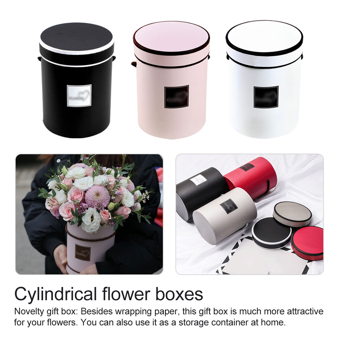 Round Flower Paper Boxes With Lid Florist Bouquet Box Cylindrical Packaging Flower Hug Bucket Flower Bouquet Holder