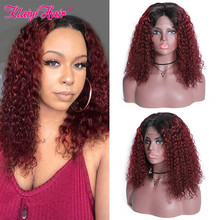 Klaiyi Hair Curly Bob Human Hair T1B99J/T1B30/Natural Wigs 8 14 inch Pre Plucked Remy Hair 13*4 Lace Front Wig 130% 180% Density