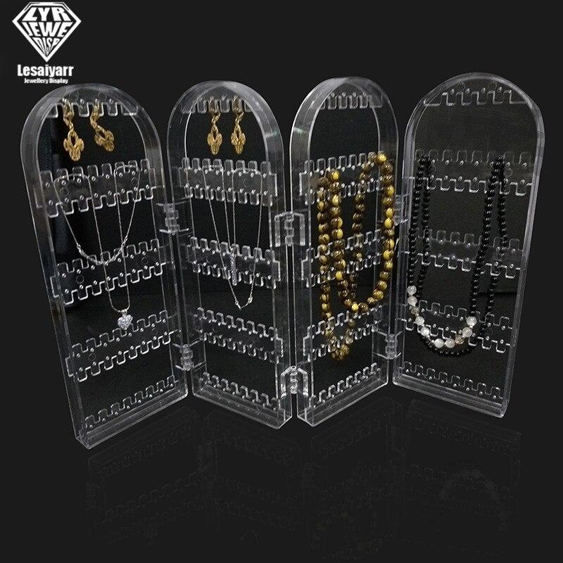 120/180/240/360holes Plastic Clear Earrings Studs Display Rack Folding Screen Earring Jewelry Display Stand Holder Storage Box