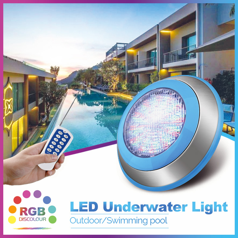 12w 24w 54w Swimming Pool Light RGB Surface Mounted LED Underwater Lights IP68 AC12V Stainless Steel Fountain Lamp Spa Pond Lamp