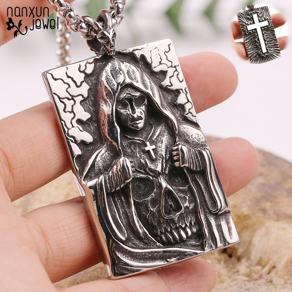 Morte satã cruz esqueleto crânio pingente colar antigo cor prata punk moda motociclista demônio jóias para homem acessórios