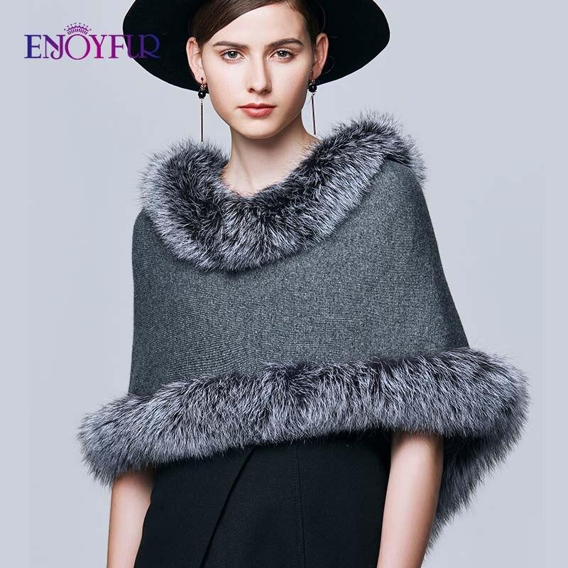 ENJOYFUR Shawl Real Silver Fox Fur Wraps Scarves Women Winter Scarf Female Warm Fashion Luxury Brand Ladies Cloak