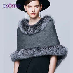 ENJOYFUR Shawl Real Silver Fox Fur Wraps Scarves Women Winter Scarf Female Warm Fashion Luxury Brand Ladies Cloak
