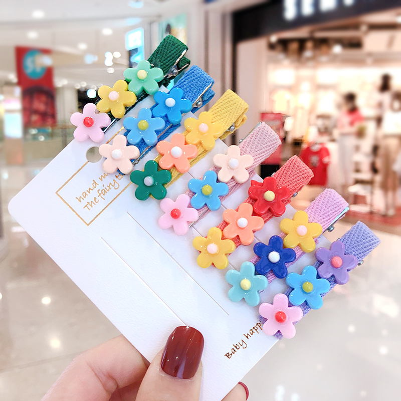 2020 New Children Cute Mix Acrylic Flower Flower Ornament Hair Clips Girls Lovely Alloy Barrettes Hairpins Kids Hair Accessories