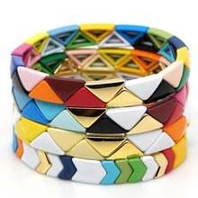 Новинка 1 шт браслет из сплава с цветной эмалью стрейчевый треугольными