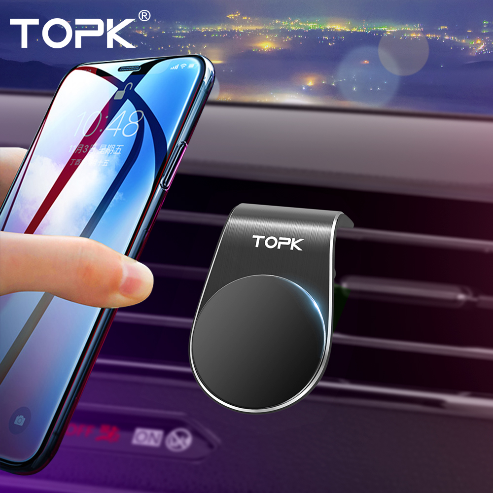 TOPK Magnetic Car Phone Holder L Shape Air Vent Mount Stand For IPhone Samsung Xiaomi Huawei GPS Mobile Phone Holder In Car