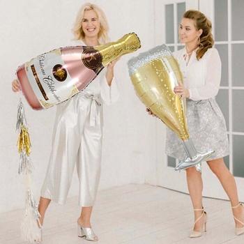 1 sztuk wesele przyjęcie rocznicowe z balonów foliowych butelka do szampana kufel na piwo urodziny balony dekoracje ślubne urodziny tanie i dobre opinie ZQNYCY CE119 Party Ślub CHRISTMAS New Year Ślub i Zaręczyny Owalne Ballon Folia aluminiowa 1 pc