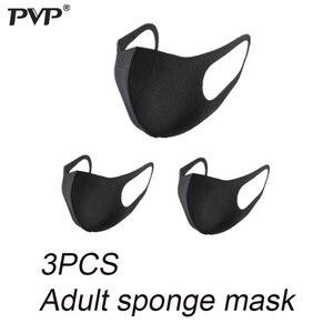 Image 2 - PVP 10/3 قطعة الأسود الفم قناع تنفس للجنسين الإسفنج قناع الوجه قابلة لإعادة الاستخدام مكافحة التلوث الوجه درع الرياح واقية الفم مكافحة حبوب اللقاح