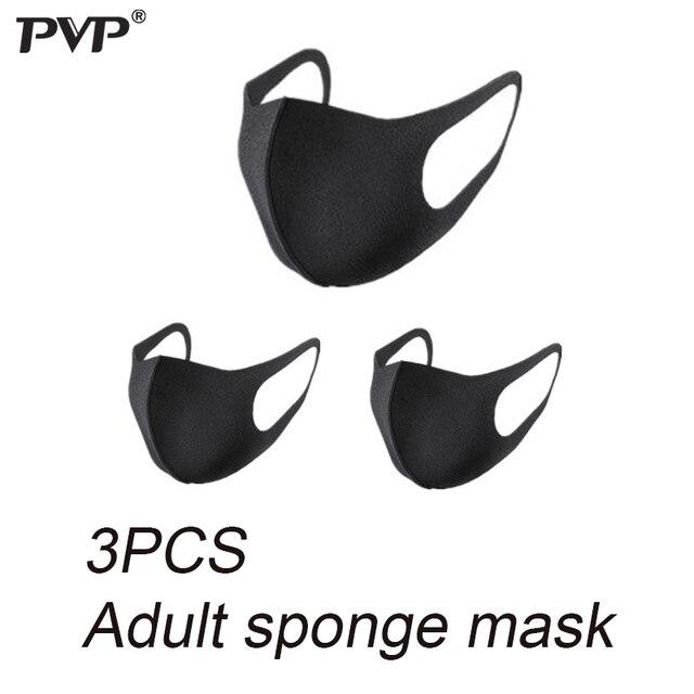 PVP 10/3Pcs Black Mouth Mask Breathable Unisex Sponge Face Mask Reusable Anti Pollution Face Shield Wind Proof Mouth anti-pollen 1