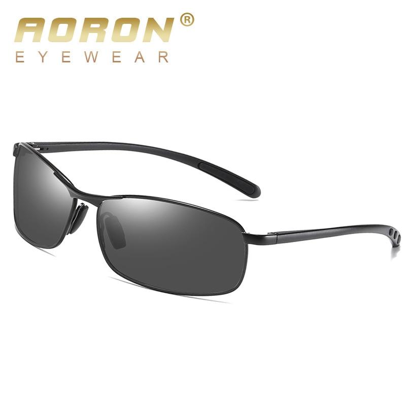 AORON Mens Polarized Sunglasses Men Classic Rectangle Sun Glasses Aluminum Leg UV400 Sunglasses Mirror Eyewear