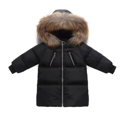 2019New children's down jacket medium long large wool collar children's clothing boys and girls down jacket