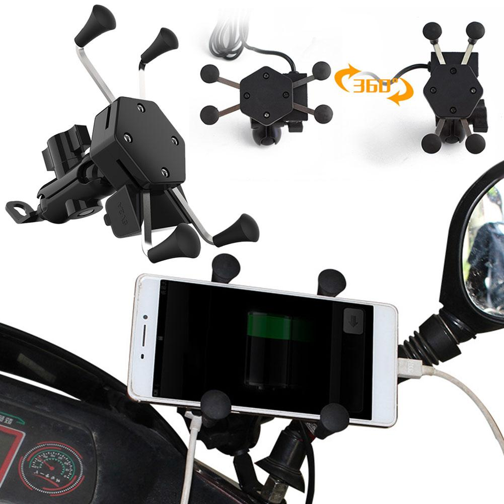ABS 360 Degree Rotation Motorcycle Scooter Handlebar Mobile Phone Mount Stand Bracket Holder 8mm - 10mm Diameter USB Charger
