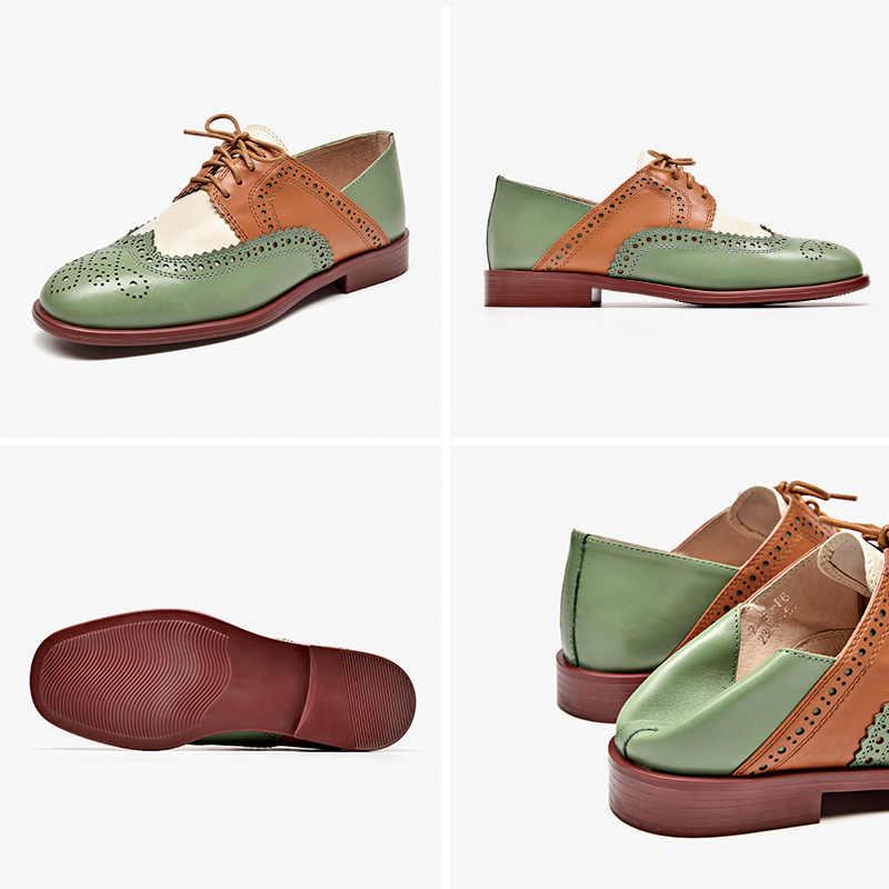 Beautoday Brogue Giày Nữ Da Bò Chính Hãng Da Hỗn Hợp Màu Sắc Giày Mũi Tròn Cột Dây Retro Nữ Derby Giày Làm Bằng Tay 21465
