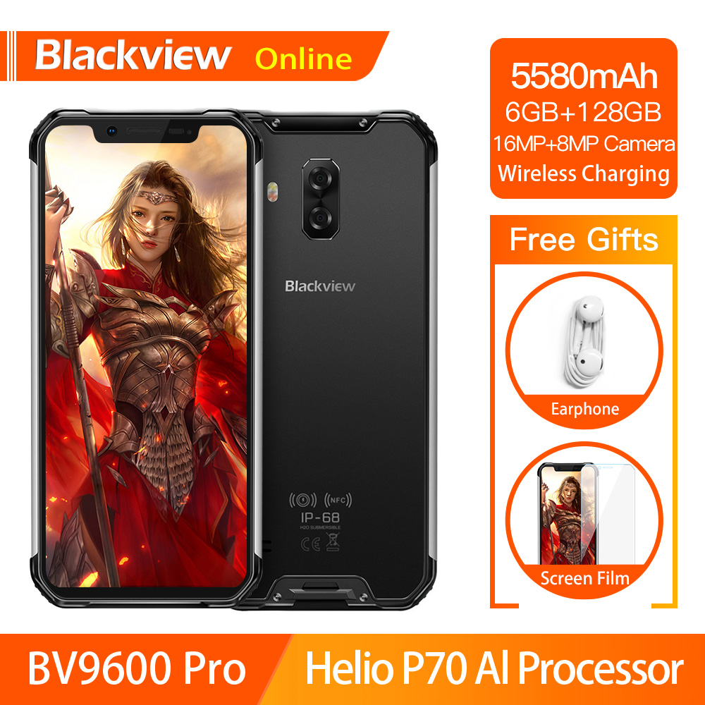 Blackview BV9600 Pro Helio P70 Waterproof Rugged Smartphone 6GB+128GB Android 9.0 Cellphone 19:9 AMOLED Outdoor 4G Mobile Phone 1