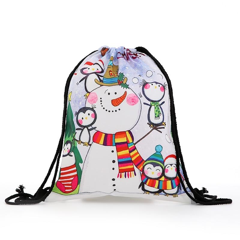 Backpack Drawstring Fashion Women Mini Christmas Backpack 3D Printing Travel Softback Bags Men Drawstring Bag Female Deer New