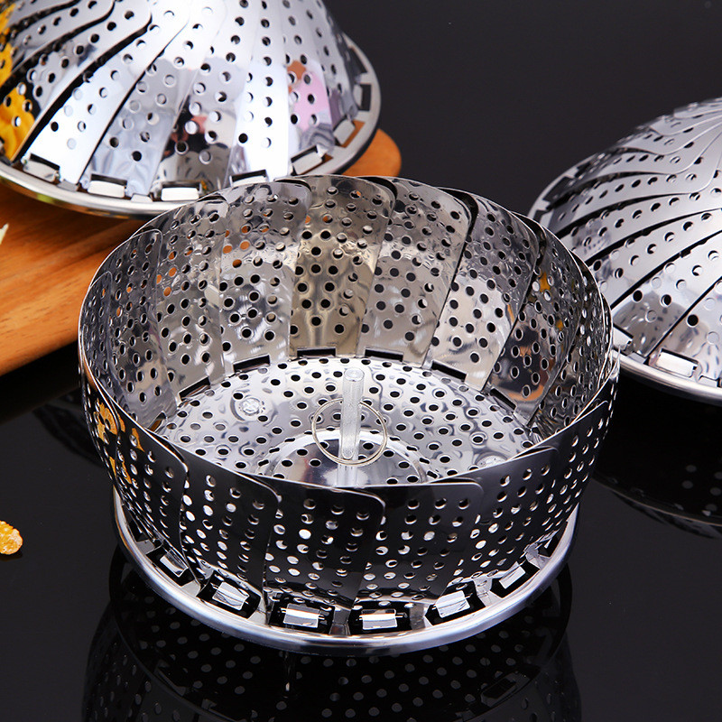 1pcs Stainless Steel Folding Steamer Multifunction Rack Holder Kitchen Accessories Cookware Food Fruit Pot Steaming Tray Stand
