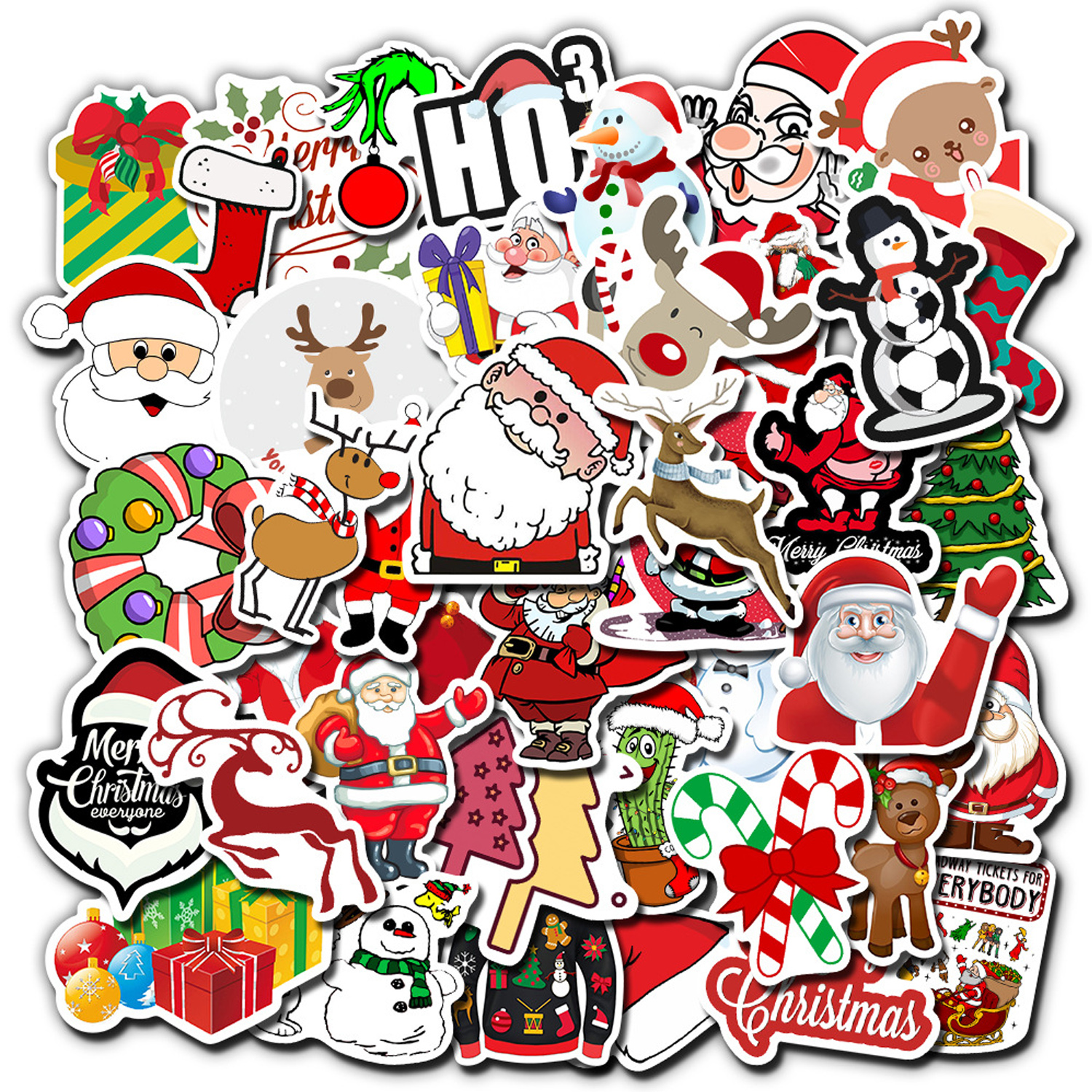 50PCS Fashion Waterproof Christmas Xmas Theme Decoration Stickers Decals For Suitcases Phones Laptops Tablets Skateboards