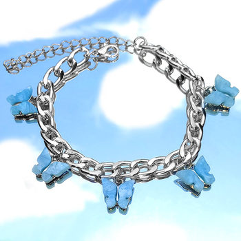 Byliajewel Gold Silver Color 16 Butterfly Bracelets for Women Punk Hip hop Acrylic Wide Bracelet 2020 Fashion Party Jewelry Gift