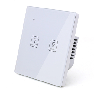Image 3 - WIFI Touch Light Icon Wall Switch White Glass Blue LED Universal Smart Home Phone Control 4 Gang 2 Way relay Alexa Google Home