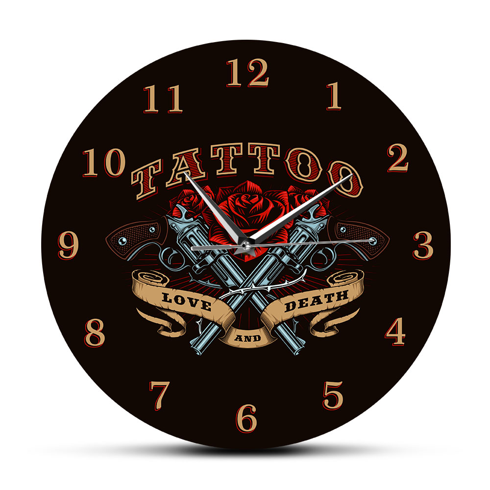 Pistol And Rose Love And Death Tattoo Studio Sign Decorative Wall Clock Old School Man Cave Wall Decor Silent Quartz Wall Watch