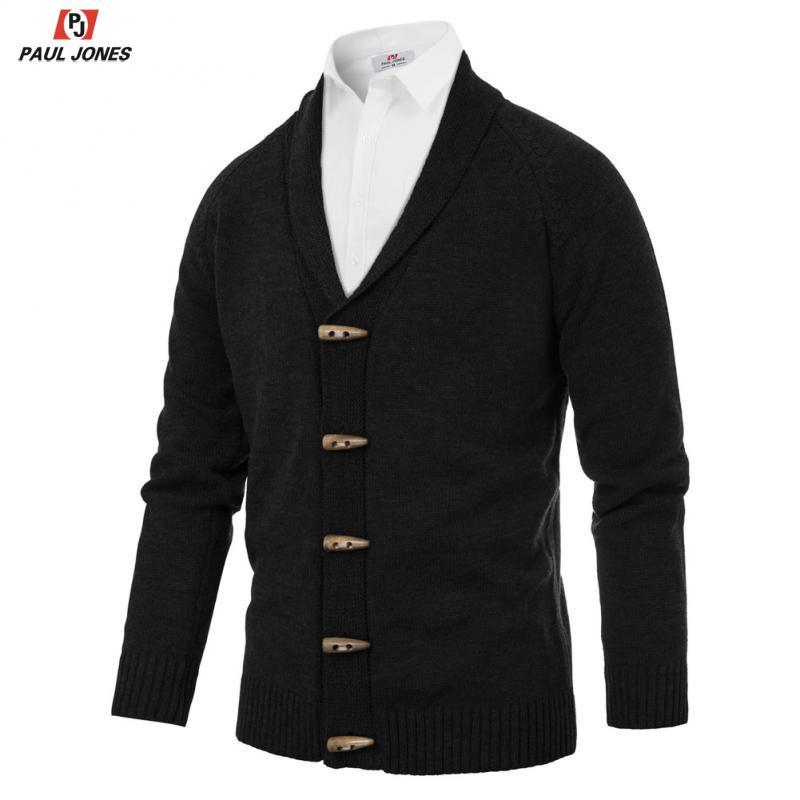 PAUL JONES Cardigan Sweater Men Shawl Collar Knitwear Toggle