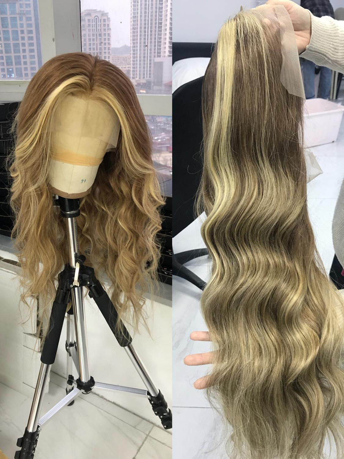 QueenKing Hair Front Lace Wig 180% Density Cami Color Balayage Ombre Wigs T7/7/24 European Remy Hair Free Shipping Overnight