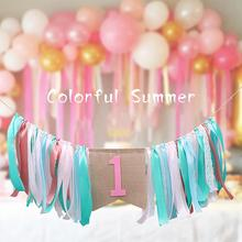 new 1st Happy Birthday Banner Highchair Bunting Tied Ribbon Kids Party Decoration