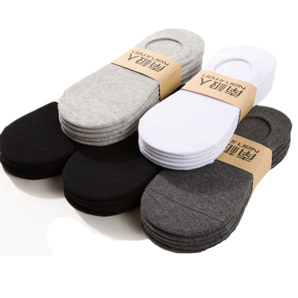Носки мужские Нескользящие, хлопковые невидимые, деловые, классические, черные, белые, серые, 5 пар, летние