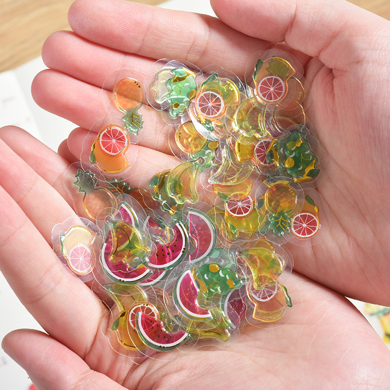 100 Pcs/pack Mini Transparent 3D PVC Crystal Candy Stickers Creative Animal Dolphin Fruit Cat Decorative Sticker For Diary Album