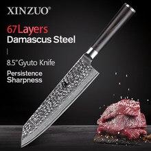 XINZUO-cuchillo de cocina de 67 capas, utensilio de acero damasco japonés de 8,5 pulgadas, Kirin suke Gyuto, VG10, Chef, mango de Pakkawood