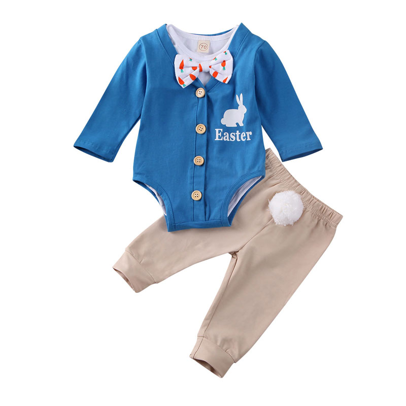 0-24M Easter Newborn Infant Baby Boy Clothes Set Long Sleeve Rompers Bodysuit + Pom Pom Rabbit Pants Toddler Baby Boy Costumes