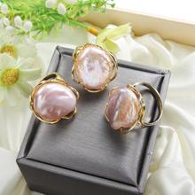 Freshwater Pearl Handmade Creative Gold Color Rings Baroque Open Ring for Women Gift Fine Jewelry