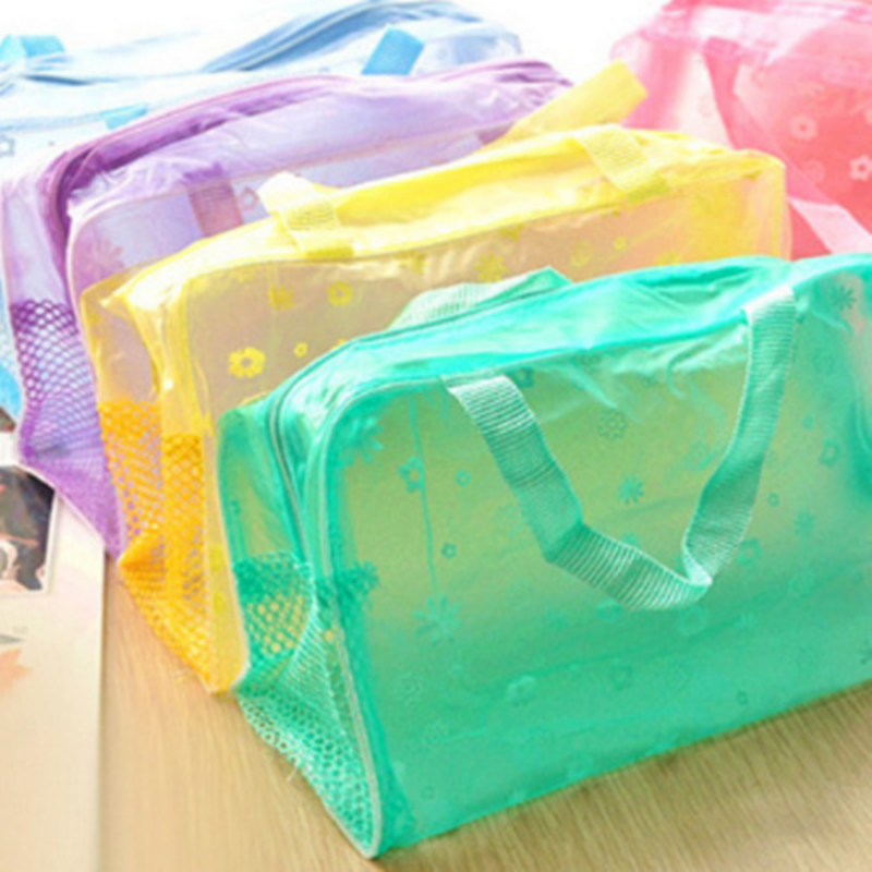 1PC Hot Sale Make Up Organizer Bag Toiletry Bathing Storage Bag Women Waterproof Transparent Floral Travel Cosmetic Bag