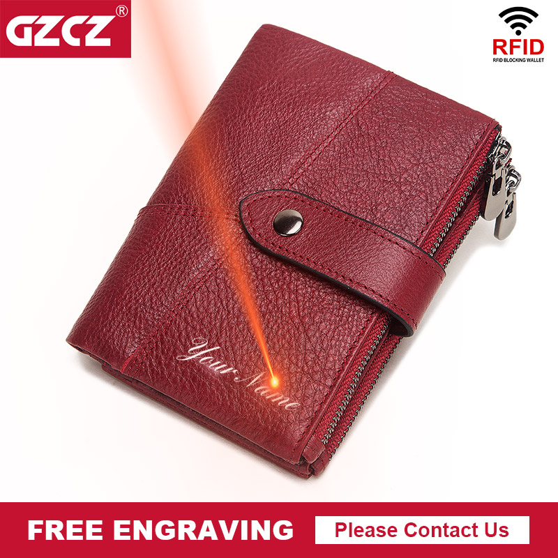Free Engrave 100% Leather Women Wallet Rfid Female Portomonee Coin Purse Short Male Money Bag Quality Designer Male Card Small