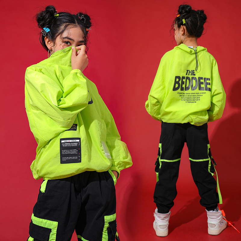 Green Jazz Dance Costumes For Girls Street Dance Rave Outfit Hip Hop Performance Clothing Kids Practice Dancing Wear DC3520