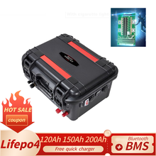 Batteria al litio 12V lifepo4 120Ah 150Ah 200Ah BMS RV batteria al litio di backup solare ricaricabile impermeabile marina esterna