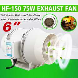 New 6 Inch 220V Low Noise Inline Duct Hydroponic Air Blower Fan  Exhaust Fan for Home Bathroom Ventilation Vent and Grow Room