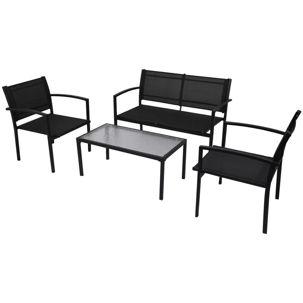 VidaXL 4 Piece Garden Lounge Set Textilene Black 42162