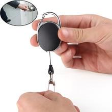 Металлический выдвижной держатель для ключей на открытом воздухе Сумка Чехол кошелек для ключей брелок держатель карты держатель значка Сталь отдача кольцо выдвижной зажим Брелок дропшиппинг#445