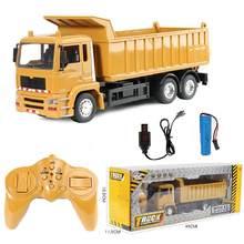 Rc carros caminhão basculante veículo brinquedos para crianças meninos natal presentes de aniversário cor amarela transportador engenharia modelo praia brinquedos