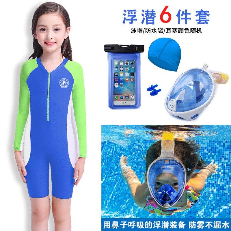 New Style KID'S Swimwear Girls Long Sleeve Tour Bathing Suit Big Boy Hot Springs Tour Bathing Suit One-piece Kids Is Chinlon Bat