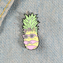 Cartoon Bikini Fruit Enamel Pin Sexy Miss Pineapple Brooches Bag Clothes Button