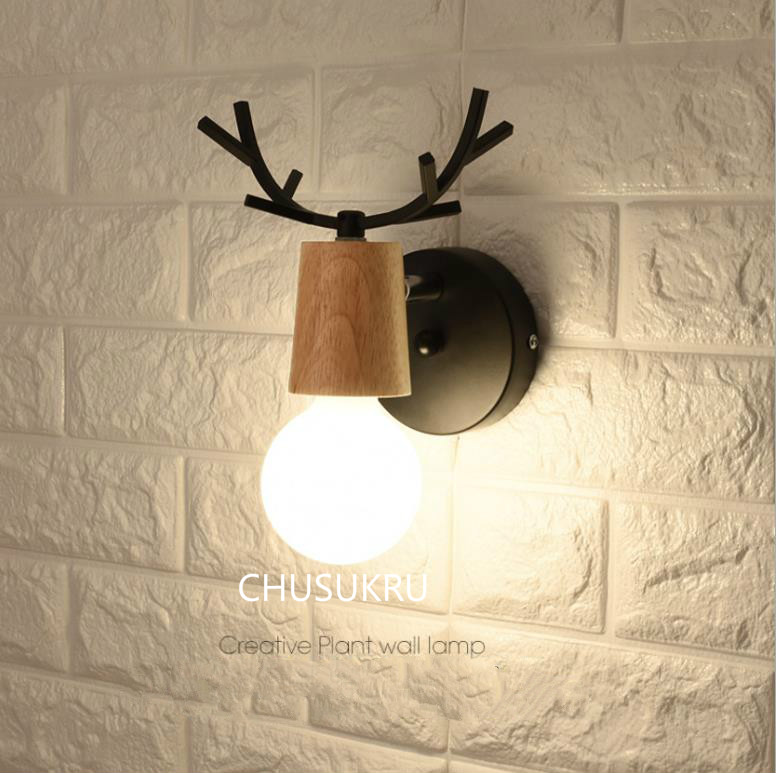 LED Wall Lamp Wooden Iron Nordic Vintage Modern Loft Bathroom Bedroom Living Room Bedside Stair Creative Home Lights