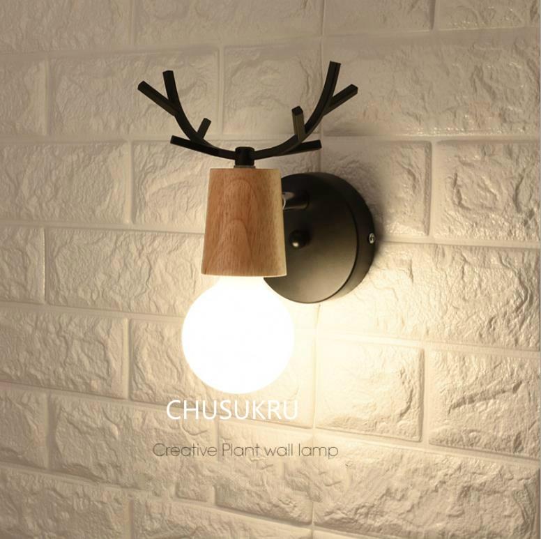 LED Wall Lamp Wooden Iron Nordic Vintage Modern Loft Bathroom Bedroom Living Room Bedside Stair Creative Home Lights