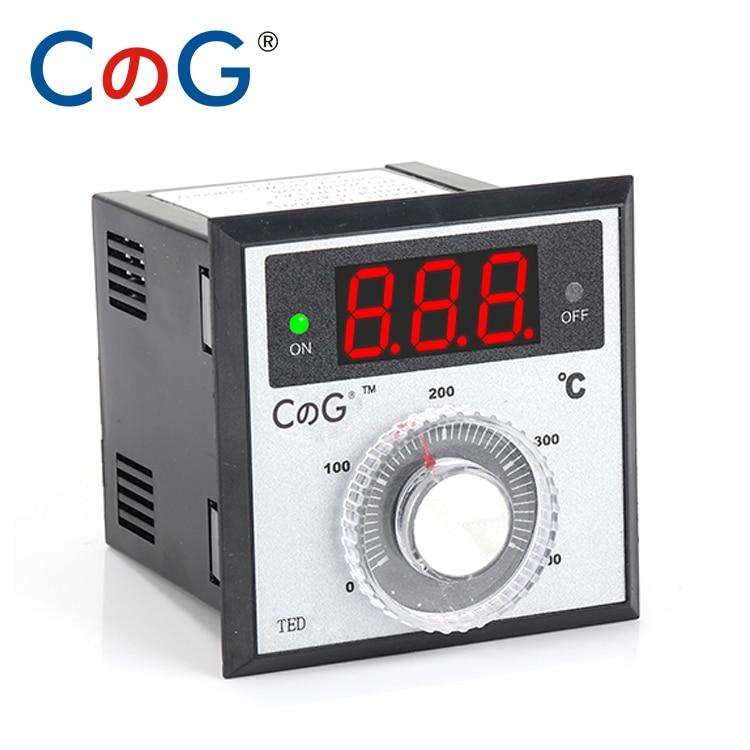 TED 72*72mm K J PT100 Type AC220V 24V 380V Knob 0-100 200 300 400 600 Degree Digital Thermostat Powered Temperature Controller