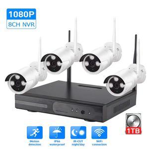 Image 1 - 1080p nvr cctv kit wifi sistema de câmera ip câmera sistema de segurança ao ar livre conjunto vigilância por vídeo