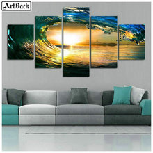 Five fight waves sunset landscape diamond painting cross stitch 5d full square / round mosaic crafts